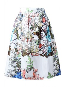 High-Waisted Ruffled Plant Midi Skirt