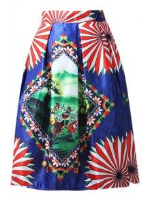 A-Line Cartoon Print Stripes Midi Skirt