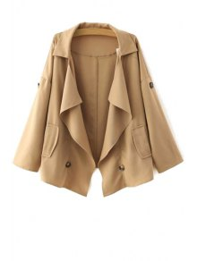Loose-Fitting Buttons Long Sleeve Trench Coat
