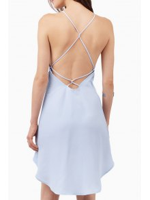 Spaghetti Strap Cross Backless High Low Dress - Blue M