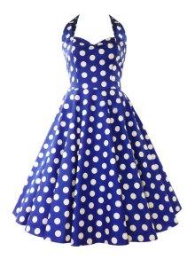 Polka Dot Print Halter A Line Pin Up Dress - Blue S