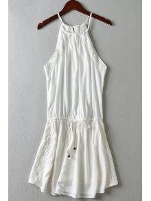 Spaghetti Strap Lace Splicing Tie-Up Dress - White S