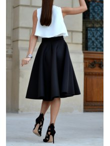 White Tank Top And Black A Line Skirt Suit BLACK: Two-Piece ...