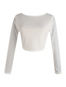 Long Sleeve Fitted Zipper Design Crop Top - White S