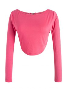 Long Sleeve Fitted Zipper Design Crop Top - Rose Xl
