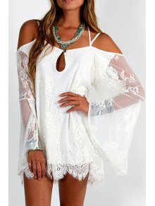 Spaghetti Strap Cross See-Through Lace Dress - White S