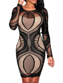 Scoop Neck See-Through Openwork Long Sleeve Dress - Black L