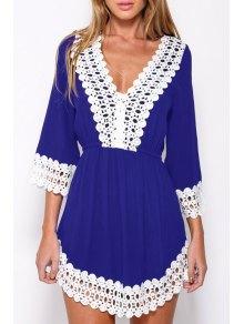 Deep V Neck White Lace Splicing Dress - Purplish Blue L