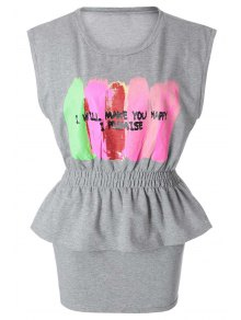 Color Block Letter Print T-Shirt + Solid Color Skirt