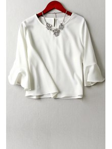 Flouncing Sleeve Keyhole White T-Shirt