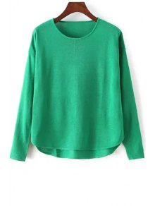 High Low Solid Color Long Sleeve Sweater - Green