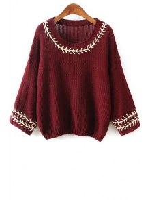 Scoop Neck String Embellished Long Sleeve Sweater