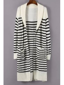 Turn-Down Collar White Black Stripe Cardigan
