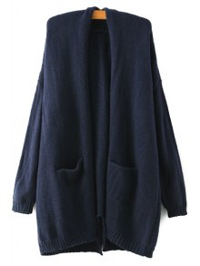 Back Slit Pocket Long Sleeve Cardigan - Cadetblue
