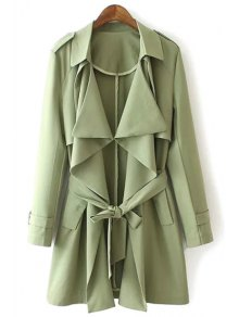 Solid Color Epaulet And Pocket Design Trench Coat - Green L