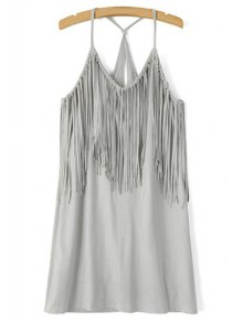 Spaghetti Strap Fringe Splicing Faux Suede Dress - Gray L