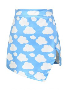 Full Cloud Print High Waisted Skirt