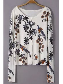 Scoop Neck Floral Bird Pattern Cardigan