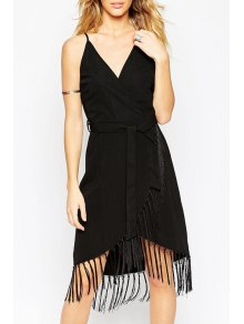 Fringe Splicing Belt Sleeveless Dress - Black L