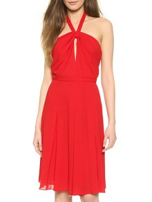 Halter Neck Hollow Out Red Sundress - Red L