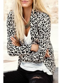 Leopard Lapel Neck Long Sleeve Blazer - Leopard