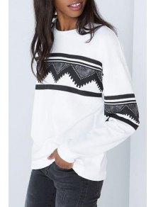 Long Sleeve Geometric Print White Sweatshirt - White