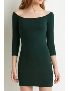 Slash Neck Solid Color 3/4 Sleeve Dress - Green S