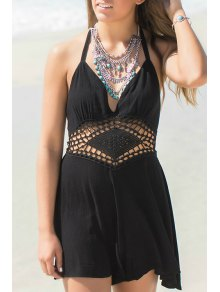 Deep V Neck Backless Openwork Sleeveless Drees - Black S