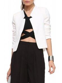 Solid Color Simple Design Blazer - White L