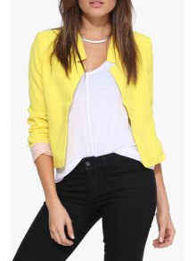 Solid Color Simple Design Blazer - Yellow