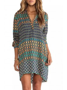 Colorful Round Pattern Long Sleeve Dress - S