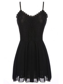 Spaghetti Strap Lace Chiffon Splicing Sleeveless Dress - Black M