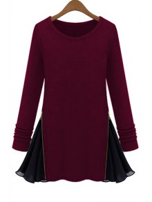 Long Sleeve Zipper Chiffon Spliced T-Shirt - Wine Red M