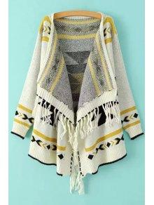 Ethnic Pattern Tassels Asymmetrical Cardigan