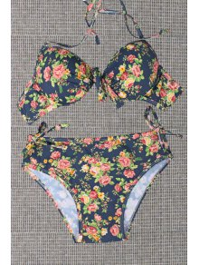 Tiny Floral Print Halterneck Bikini Set