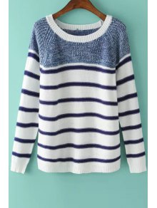 Long Sleeve Color Block Stripes Sweater