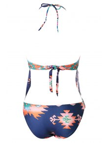 Ethnic Pattern Tassels Spliced Two-Piece Swimsuit - COLORMIX S