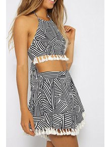 Stripes Spliced Halter Crop Top And Skirt Suit - White And Black