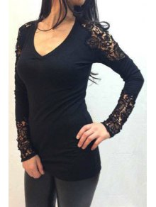 Lace Spliced Long Sleeve T-Shirt - Black M