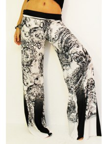 Black Print Elastic Waisted Exumas Pants