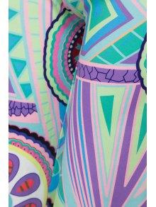 Geometric Print Wide Leg Exumas Pants - GREEN S