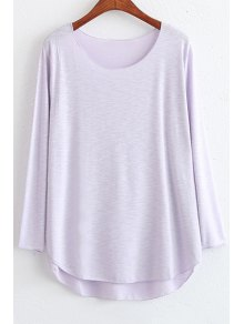 Candy Color High Low Long Sleeve T-Shirt