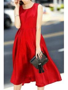 Red Jewel Neck A Line Midi Sundress