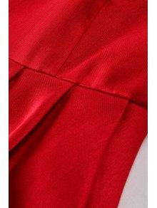 Red Jewel Neck A Line Midi Sundress - WINE RED S