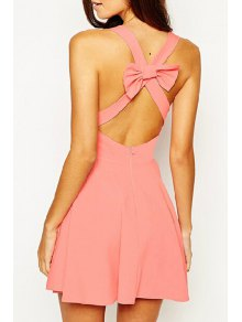 V Neck Backless Cross Bowknot Sleeveless Dress - Watermelon Red M