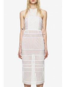 Round Neck See-Through Stripe Sleeveless Dress - White L