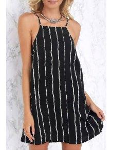 Spaghetti Strap White Stripe Sleeveless Dress - Black M