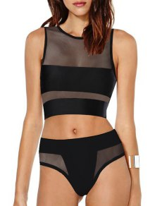 Round Neck Mesh Spliced Bikini Set