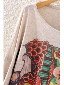 Colorful Elephant Print Long Sleeve Sweater - OFF WHITE ONE SIZE(FIT SIZE XS TO M)