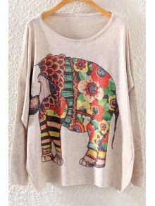 Colorful Elephant Print Long Sleeve Sweater